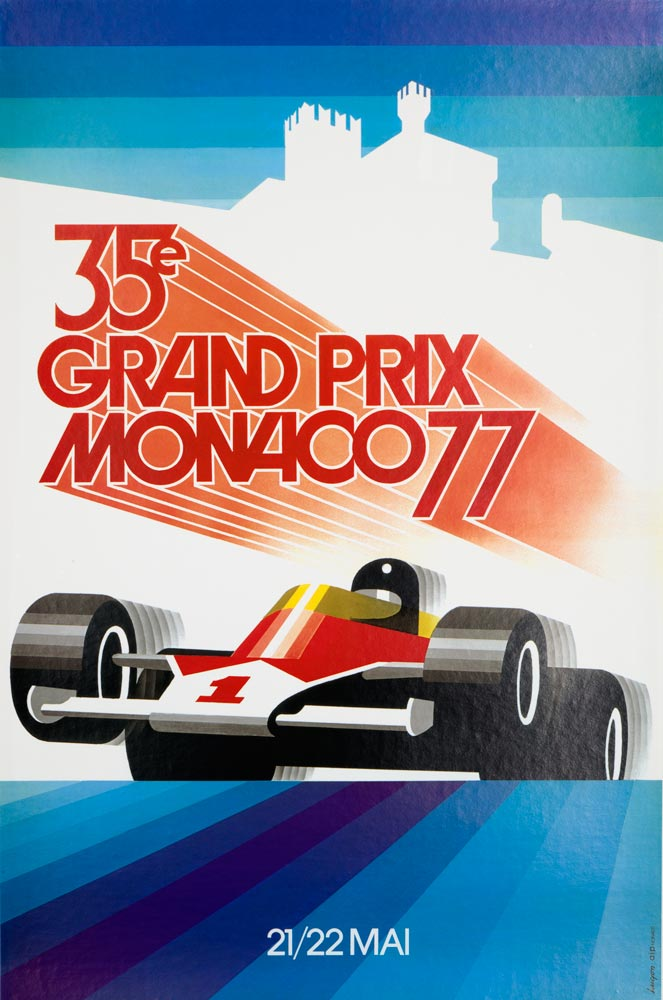 1982 Monaco 40th Grand Prix Automobile Race Car Advertisement Vintage Poster